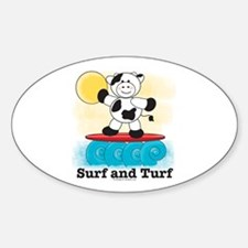 Cow Surfing Red Surfboard Decal