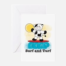 Cow Surfing Red Surfboard Blank Greeting Cards (6)