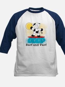 Cow Surfing Red Surfboard Kids Baseball Jersey
