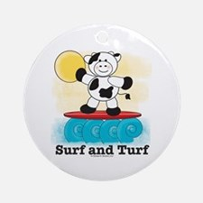 Cow Surfing Red Surfboard Ornament (Round)