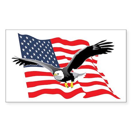 Bald Eagle and US Flag v2 Rectangle Sticker