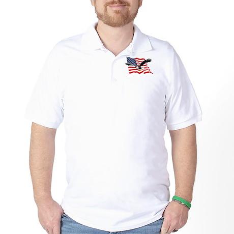 Bald Eagle and US Flag v2 Golf Shirt