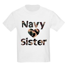 Navy Sister Heart Camo T-Shirt