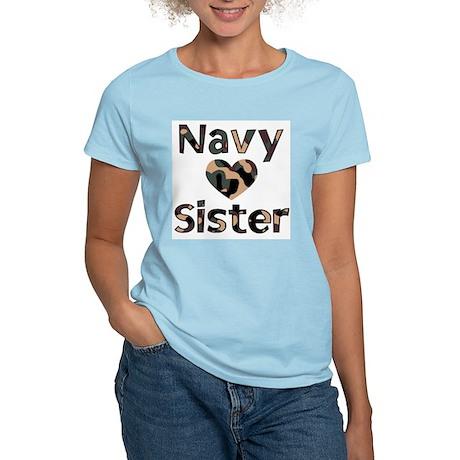 Navy Sister Heart Camo Women's Light T-Shirt