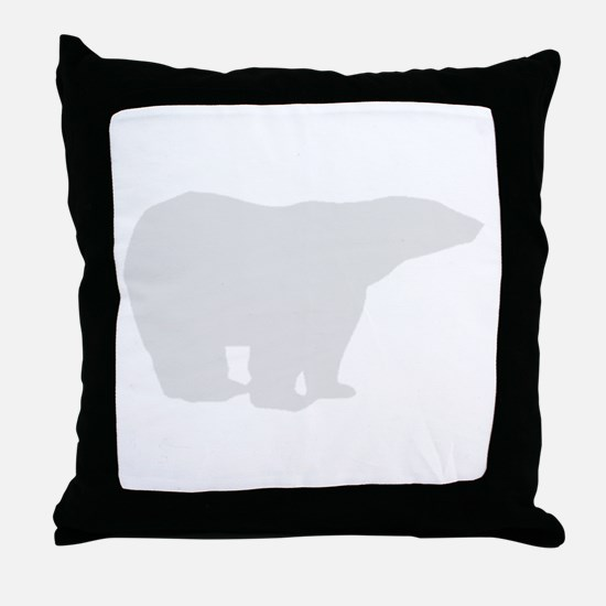 Grey Polar Bear Throw Pillow