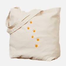 Orange Animal Tracks Tote Bag