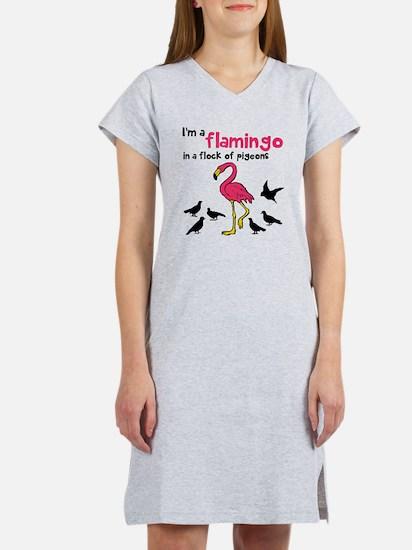 Flamingo Flock of Pigeons Women's Nightshirt