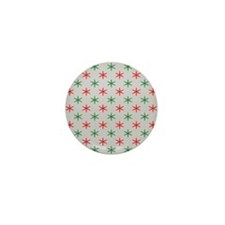 Red and green christmas snowflakes pat Mini Button