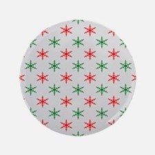 """Red and green christmas snowflakes pat 3.5"""" Button"""