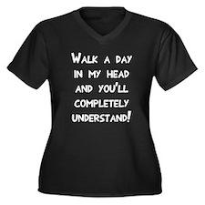 Walk day in Women's Plus Size V-Neck Dark T-Shirt