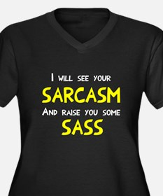 Sarcasm and Women's Plus Size V-Neck Dark T-Shirt