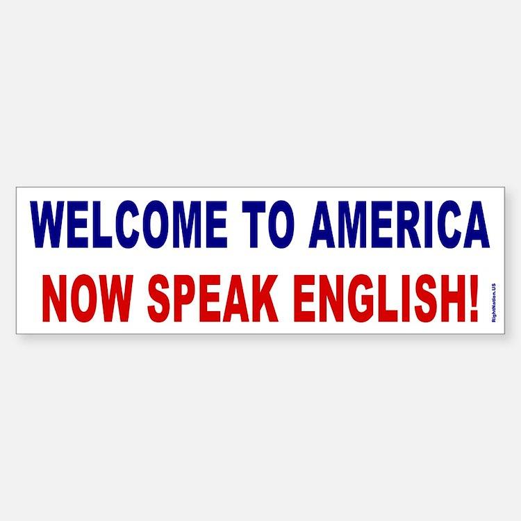 Speak English Bumper Sticker (blue/red)
