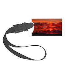 Fire Sunset Lake Superior Luggage Tag