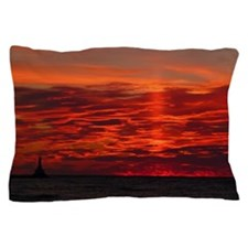 Fire Sunset Lake Superior Pillow Case