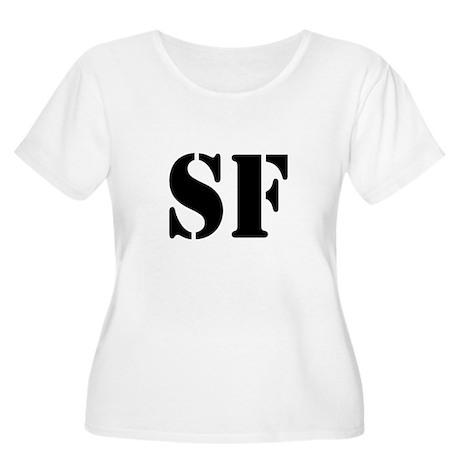 SF White Women's Plus Size Scoop Neck T-Shirt