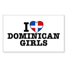 I Love Dominican Girls Rectangle Decal