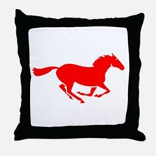 Red Horse Running Throw Pillow