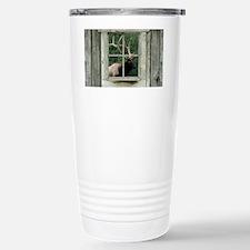 Old wood cabin window w Travel Mug
