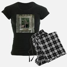 Old wood cabin window with b Pajamas