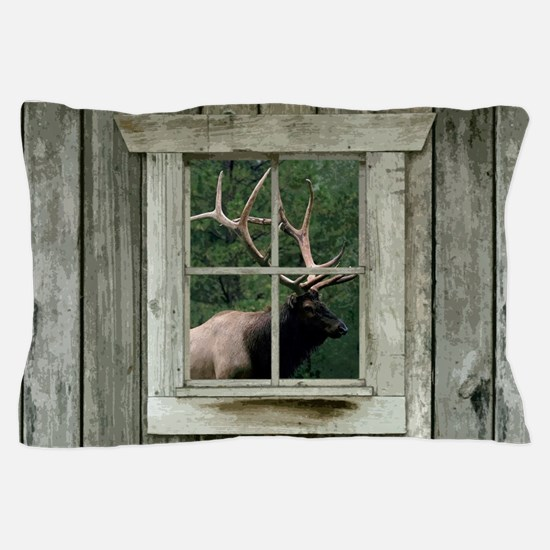 Old wood cabin window with bull elk Pillow Case
