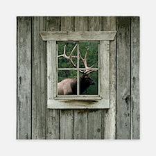 Old wood cabin window with bull elk Queen Duvet