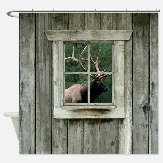 Old wood cabin window with bull elk Shower Curtain