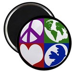 Peace, Earth, Love, Dove Magnet (10 pack)