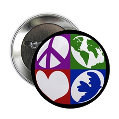 Peace, Earth, Love, Dove Button
