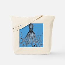 Vintage Octopus in Duo blue tones Tote Bag
