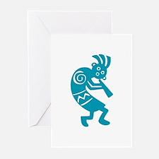 Kokopelli (aqua) Greeting Cards