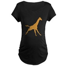 Brown Giraffe Running Maternity T-Shirt