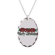 Merry Christmas Necklace Oval Charm