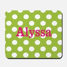 Green Pink Dots Personalized Mousepad