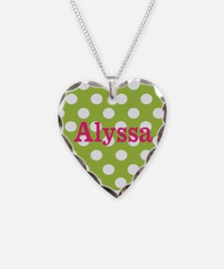 Green Pink Dots Personalized Necklace