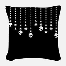 Skull Dangles Gothic Holiday Woven Throw Pillow