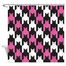 Cats Tooth Pattern in Pink, Black a Shower Curtain