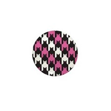 Cats Tooth Pattern in Pink, Black and Mini Button