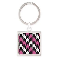 Cats Tooth Pattern in Pink, Black and Wh Keychains