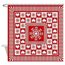 Snowflakes and Hearts Christmas Shower Curtain