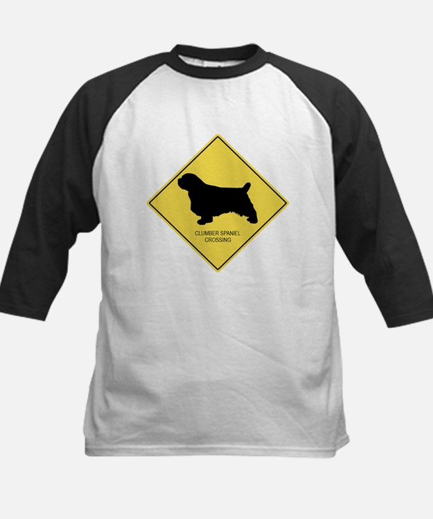 Clumber Spaniel crossing Kids Baseball Jersey