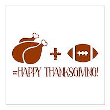 "Happy Thanksgiving Square Car Magnet 3"" x 3"""