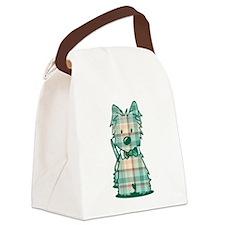 Plaid KiniArt Westie Bo Canvas Lunch Bag