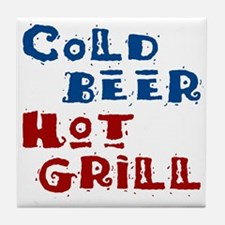 Cold Beer Hot Grill - Tile Coaster