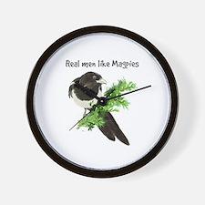 Real Men Like Magpies Humor Bird Quote Wall Clock