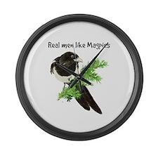 Real Men Like Magpies Humor Bird Large Wall Clock