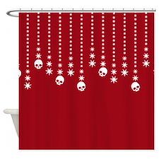 Skull Dangles Christmas Red Shower Curtain