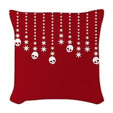 Skull Dangles Christmas Red Woven Throw Pillow