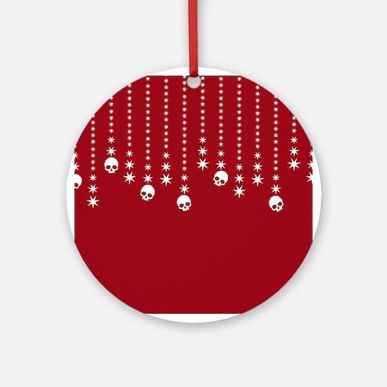Skull Dangles Christmas Red Ornament (Round)