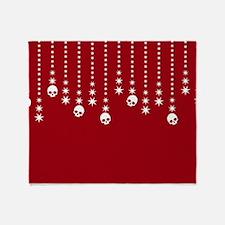 Skull Dangles Christmas Red Throw Blanket