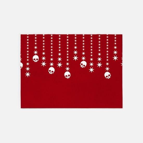 Skull Dangles Christmas Red 5'x7'Area Rug
